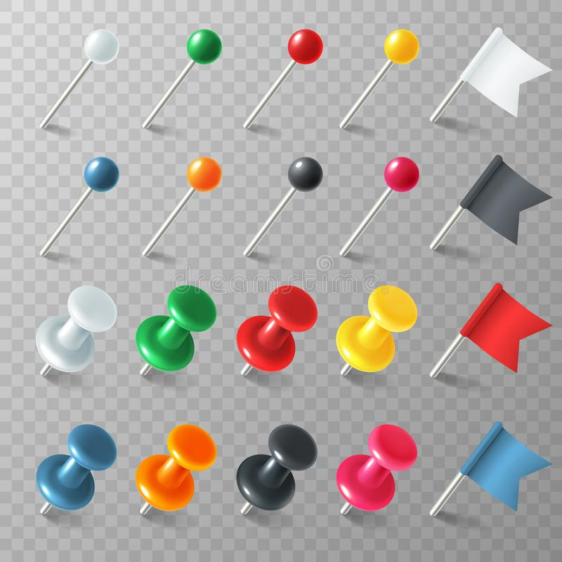 Pins flags tacks. Colored pointer marker pin flag tack pinned board pushpin organized announcement, realistic vector set stock illustration