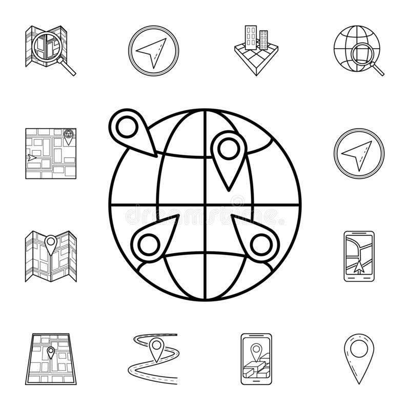 Pins on the globe icon. Detailed set of navigation icons. Premium graphic design. One of the collection icons for websites, web. Design, mobile app on white royalty free illustration