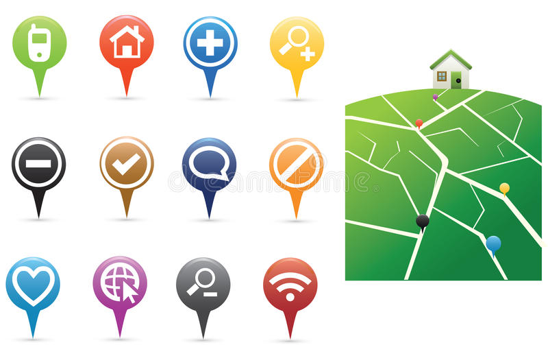 Pins with map vector illustration