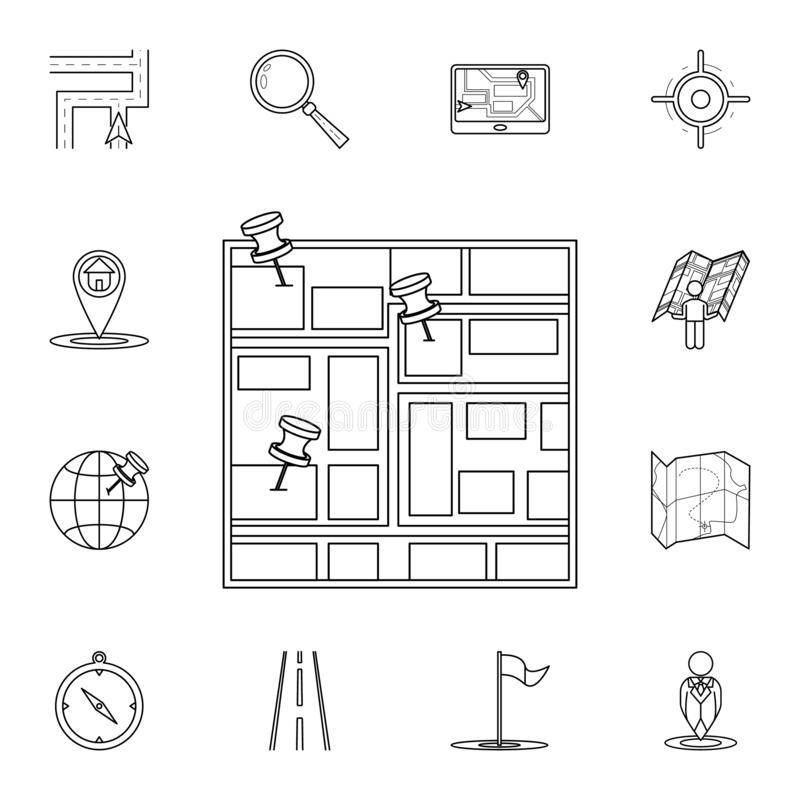 Pins on the map icon. Detailed set of navigation icons. Premium graphic design. One of the collection icons for websites, web. Design, mobile app on white vector illustration