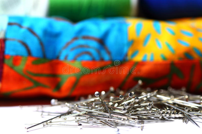 Download Pins And Patchwork Quilt A Stock Photo - Image: 36356350