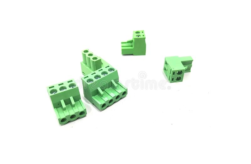 Green wires connector. The 2 pins & 3 pins wire connector, mostly used in electrical & electronic industries royalty free stock photos