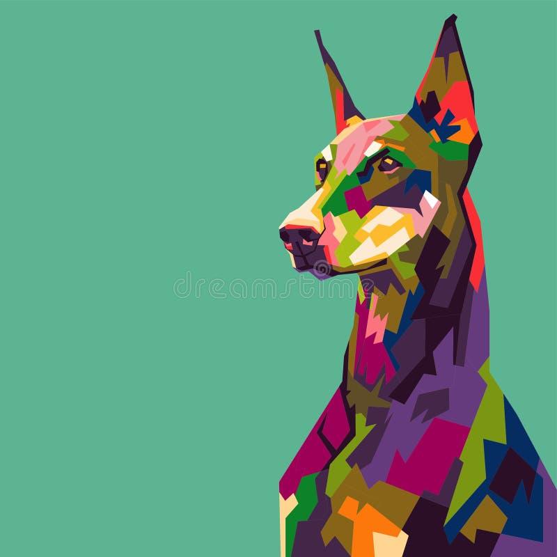 Pinscher del doberman in Pop art del wpap illustrazione vettoriale