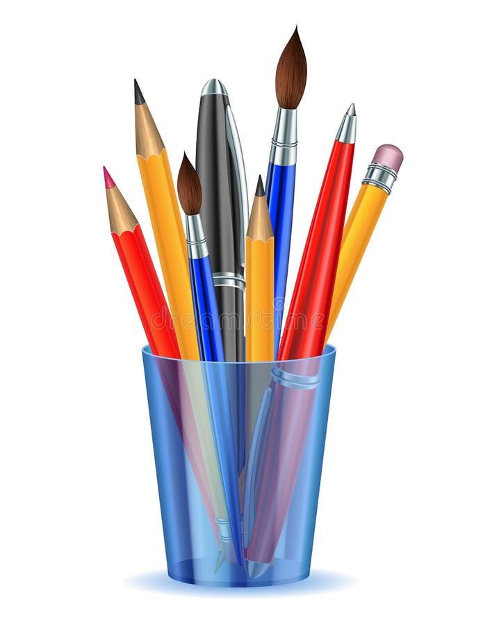Pinsel, Bleistifte und Federn in der Halterung. stock abbildung