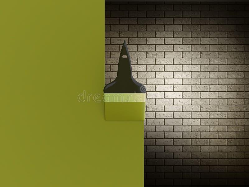 Pinsel mit grünem Anschlag stock abbildung