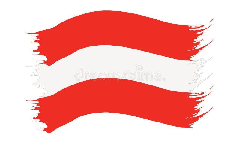 Pinselstrich gemalte Flagge von Österreich stock abbildung