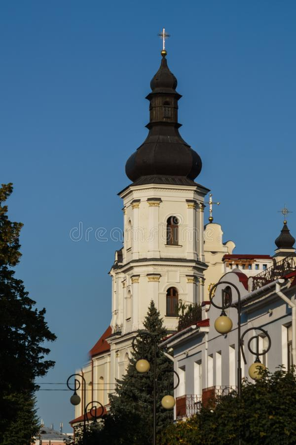 Pinsk, Belarus, August 26, 2019. Bell tower of the Assumption Cathedral of the Blessed Virgin Mary in Pinsk.  stock images