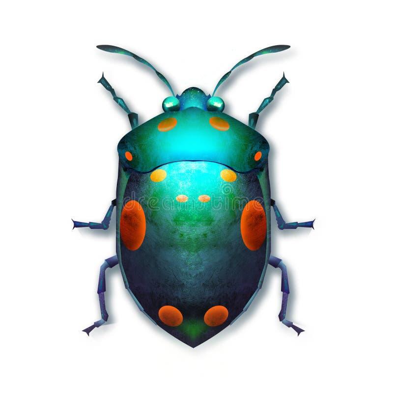 Pintó un escarabajo coloreado brillante en un fondo blanco stock de ilustración