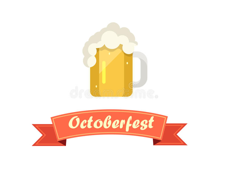 Pint of Beer on Octoberfest with Ribbon stock illustration