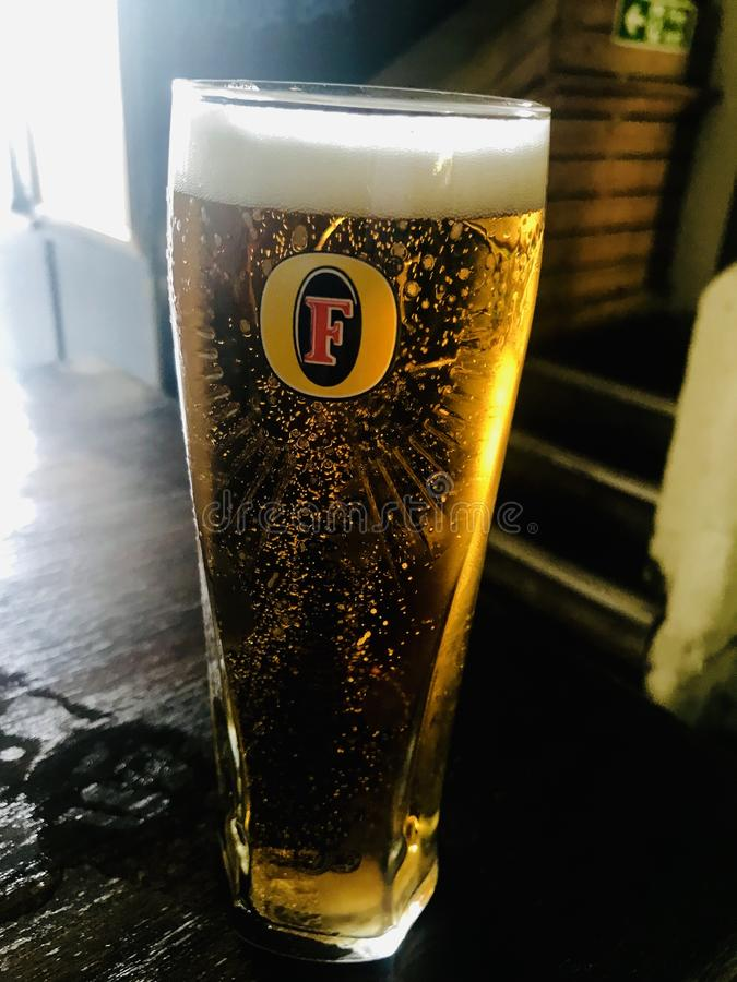 A pint of Fosters stock images