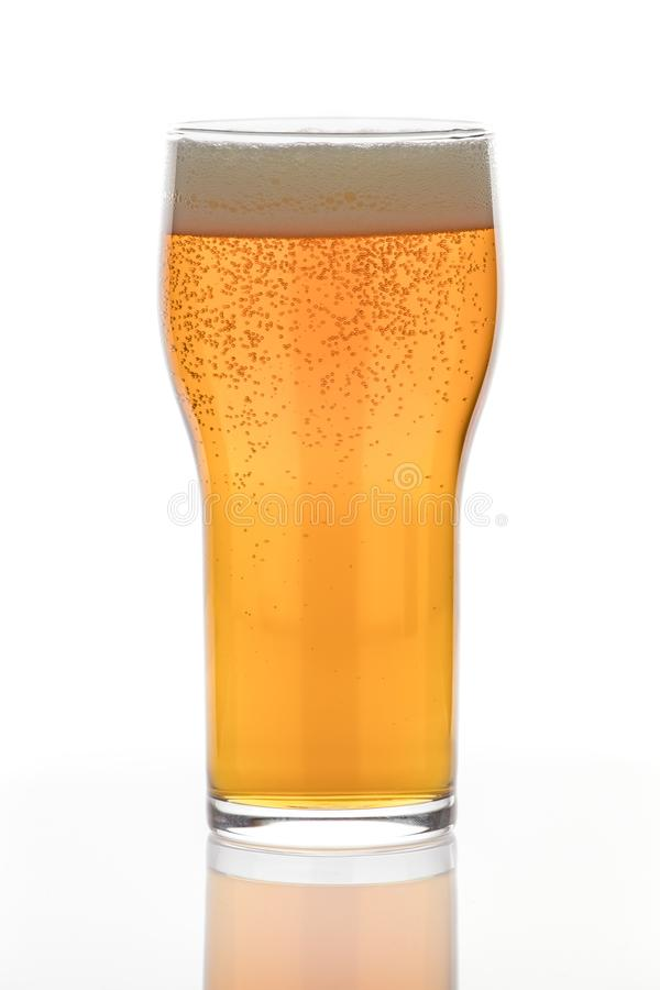 Beer Glass filled with an Amber Lager stock photo