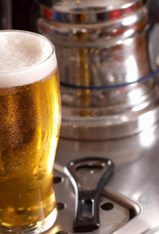 Pint of lager stock image