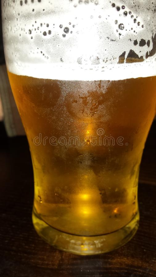 Pint of Lager, Close-up, Beer, Golden, Foam, Pub stock photo