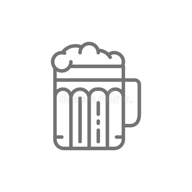 Pinta da cerveja, álcool, vidro com linha ícone da bebida ilustração royalty free