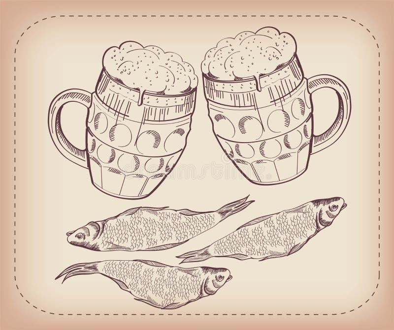Pinta da cerveja e do petisco ilustração royalty free