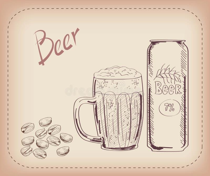 Pinta da cerveja e do petisco ilustração stock