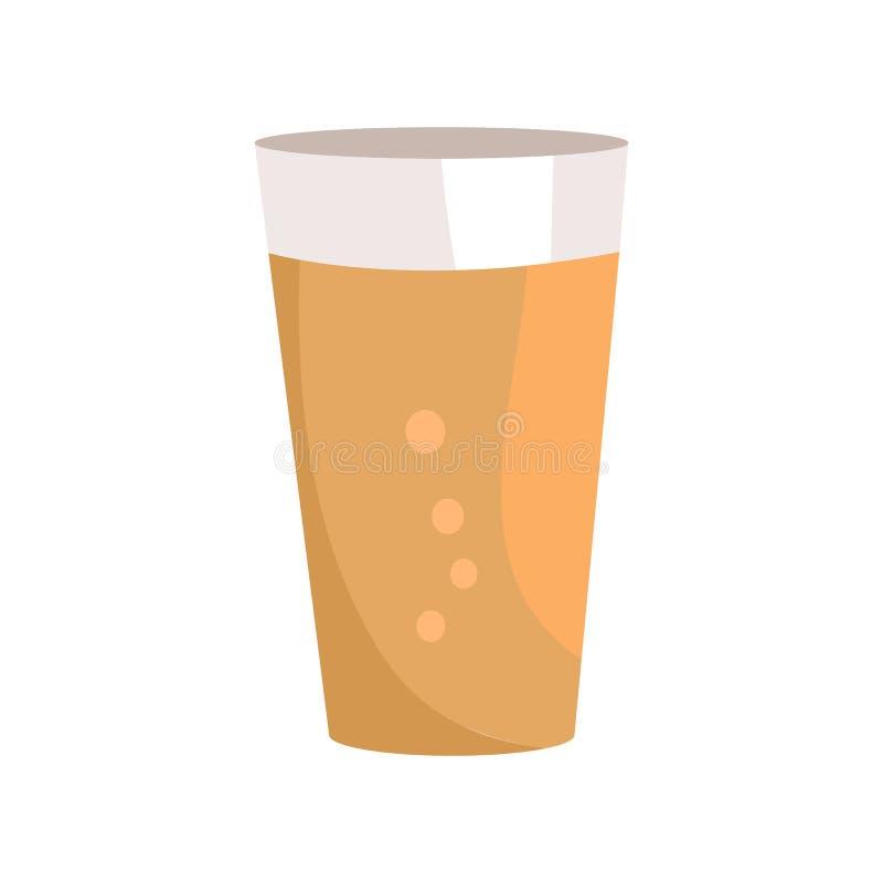 Pinta da cerveja escura no ícone de vidro transparente do vetor ilustração royalty free