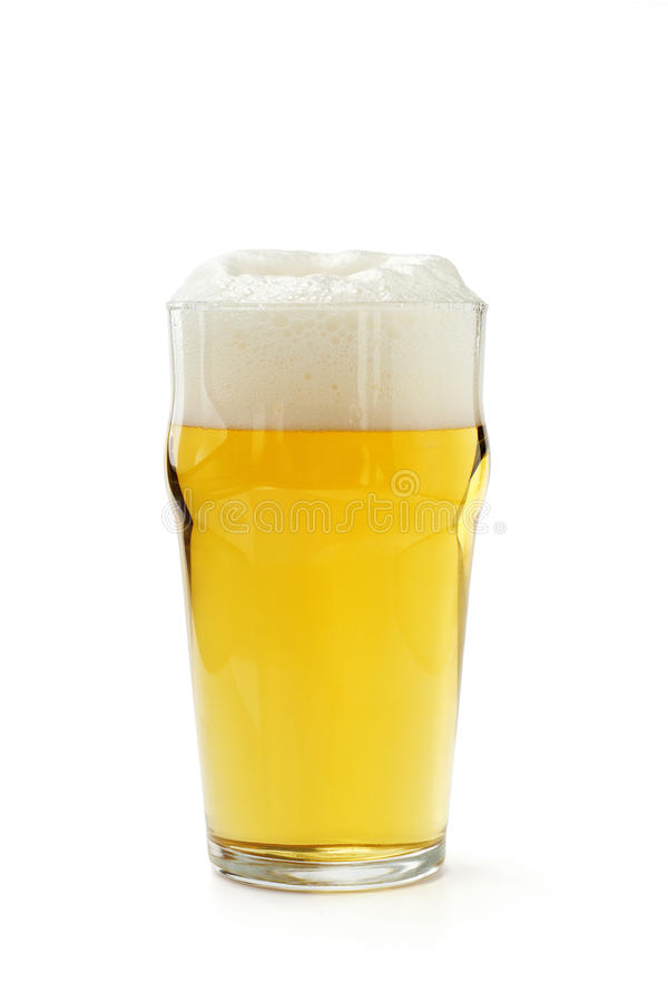 Pinta de cerveza de cerveza dorada imágenes de archivo libres de regalías