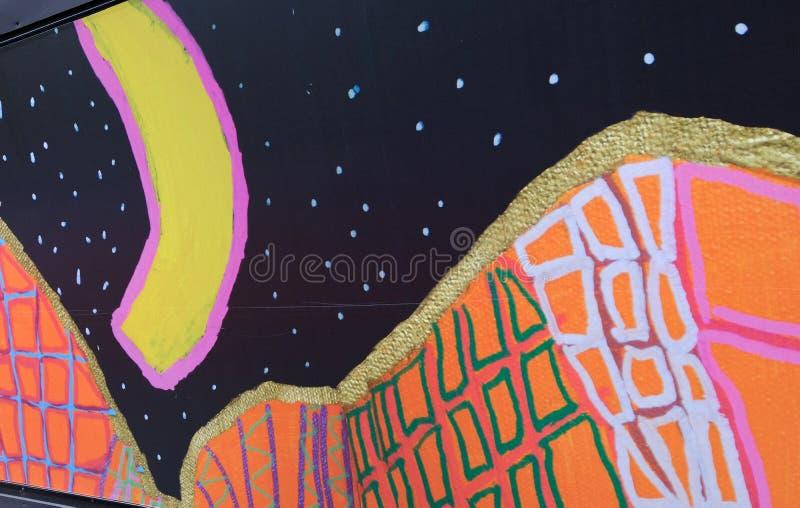 Pintada colorida en la valla publicitaria del emplazamiento de la obra, Sydney, Australia foto de archivo libre de regalías