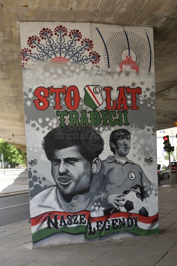Pintada con los jugadores del club del fútbol de Legia Varsovia foto de archivo libre de regalías