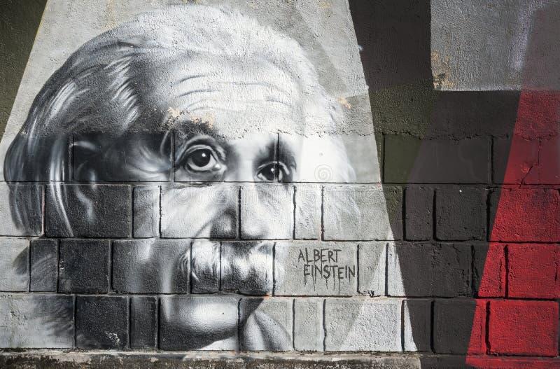 Pintada de Albert Einstein en la pared en el parque de Opatija Angiolina fotos de archivo libres de regalías