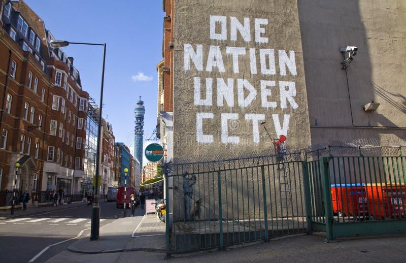 Pintada de Banksy foto de archivo libre de regalías
