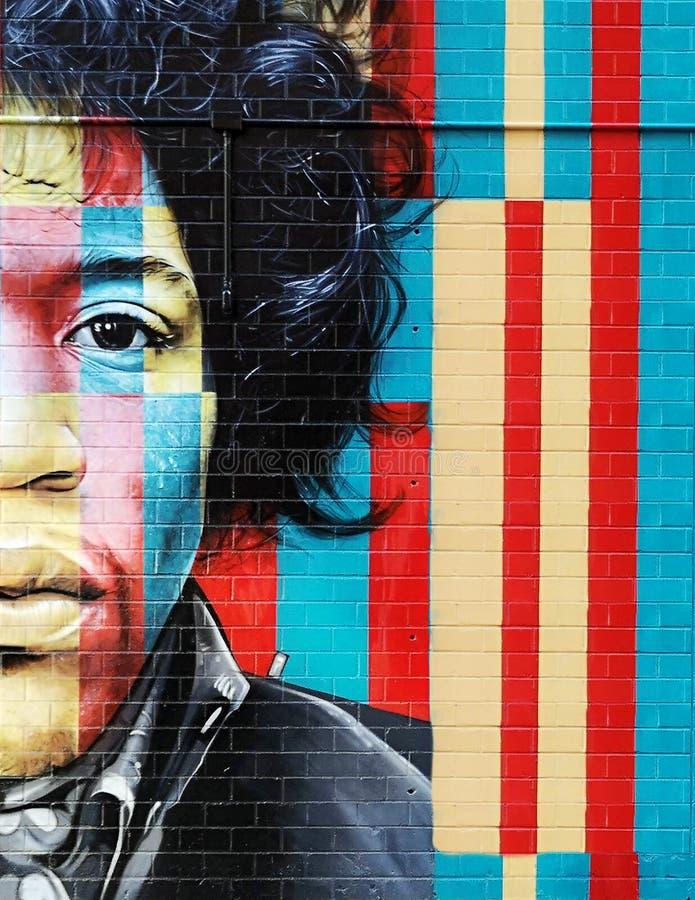 Pintada de Jimi Hendrix en la pared en New York City imagen de archivo libre de regalías