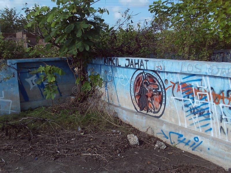 Pintada de la foto de la pared del vandalismo imagenes de archivo