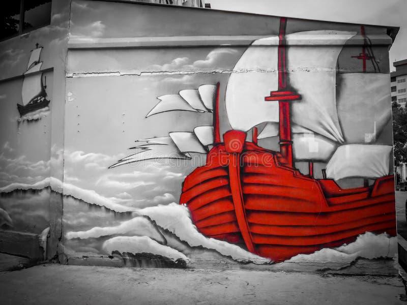 Pintada de la nave en la pared imagenes de archivo