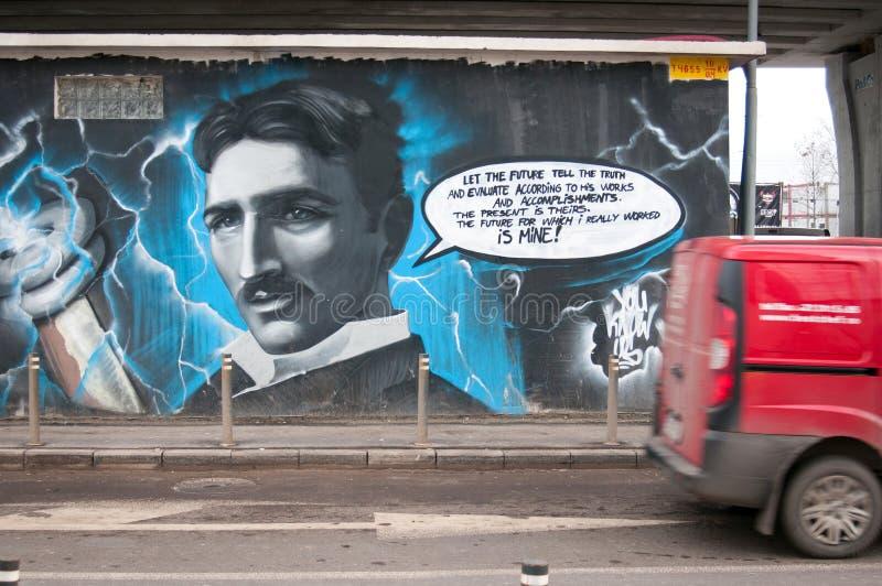 Pintada de Nikola Tesla imágenes de archivo libres de regalías