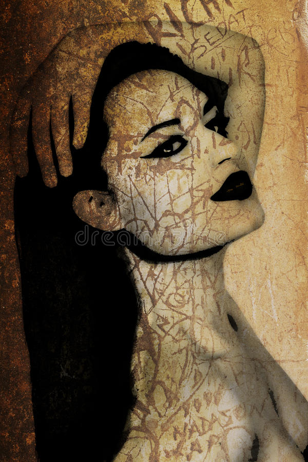 Pintada de una mujer hermosa en una pared antigua ilustración del vector