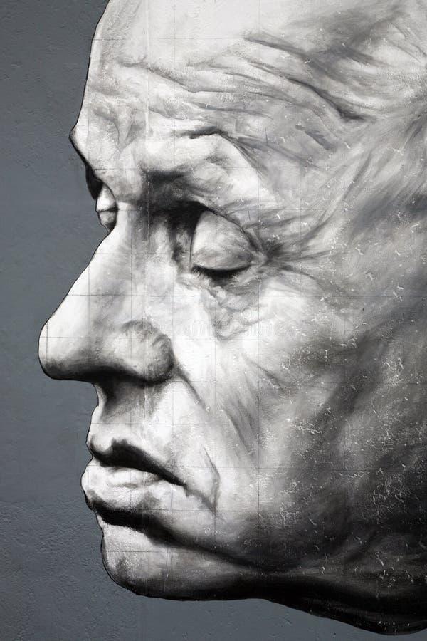 Pintada del académico Andrei Sakharov en Berlin Wall ilustración del vector