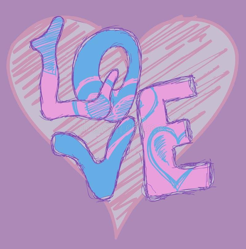 Pintada del corazón del amor stock de ilustración