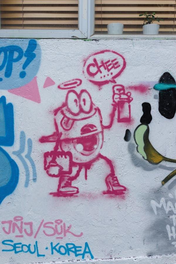 Pintada en Hong Kong Street imagenes de archivo