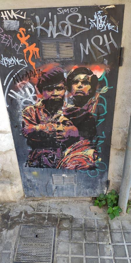 Pintada en la calle de Barcelona fotografía de archivo