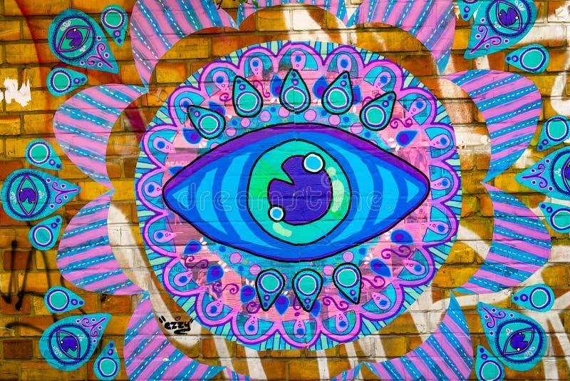 Pintada hermosa del ojo azul fotos de archivo