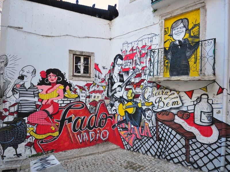 Pintada portuguesa del fado en la calle de Lisboa fotografía de archivo