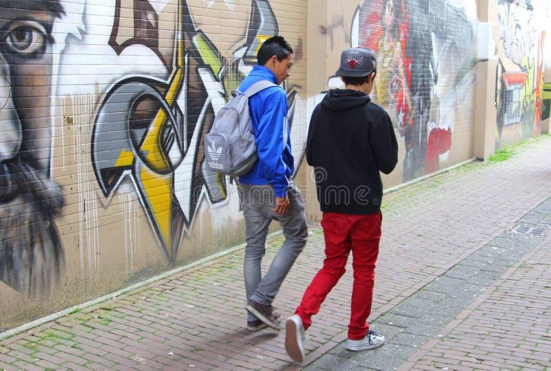 Pintada urbana del arte de la calle en Leeuwarden, Holanda fotos de archivo