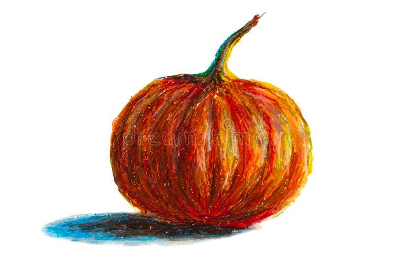 Pintado à mão, Abóbora pastel de óleo para as celebrações de halloween, outono e outono, objeto isolado sobre fundo branco ilustração stock