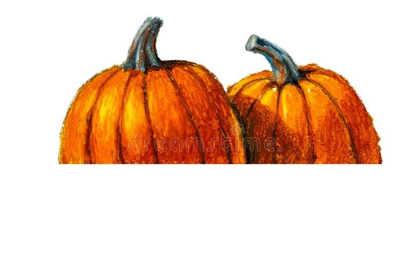 Pintado à mão, Abóbora pastel de óleo para as celebrações de halloween, outono e outono, objeto isolado sobre fundo branco ilustração royalty free