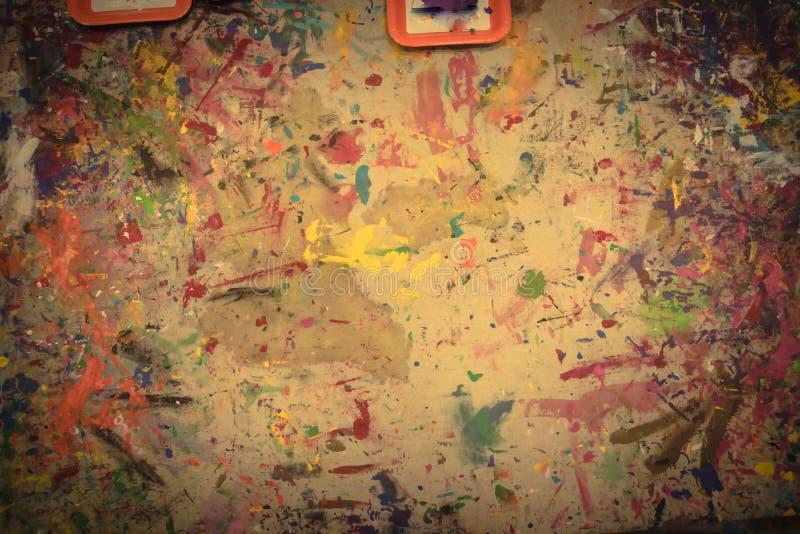 Pintado à mão acrílico do grunge abstrato no fundo da lona fotos de stock