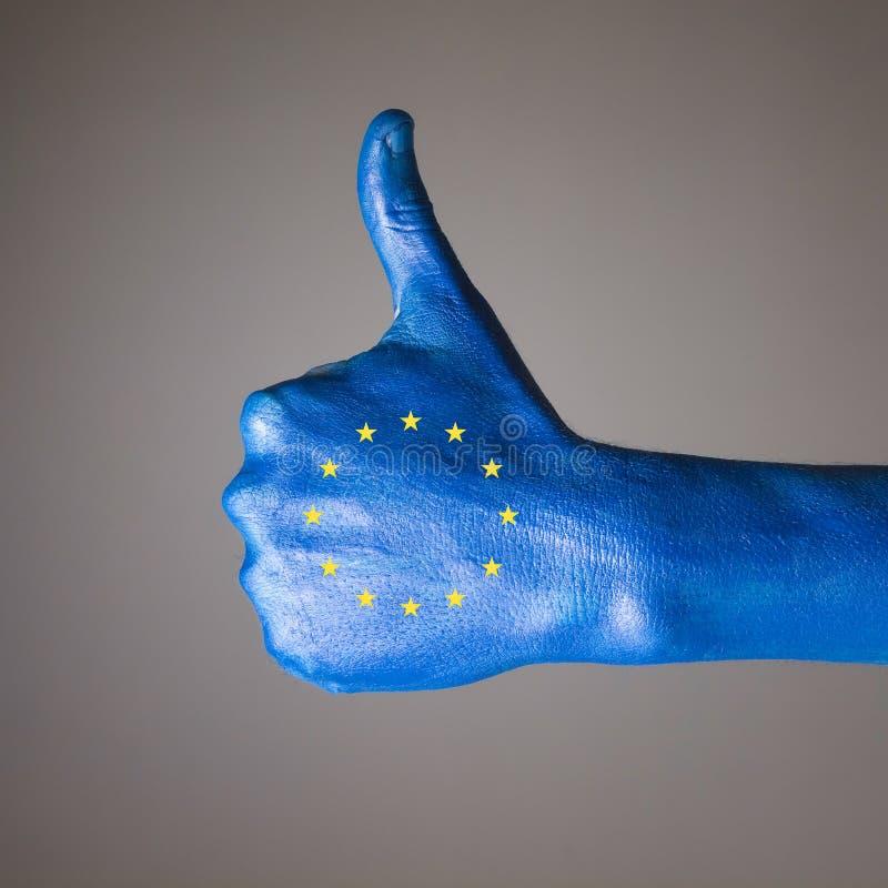 Pintado a mano con la bandera de la Comunidad Europea foto de archivo
