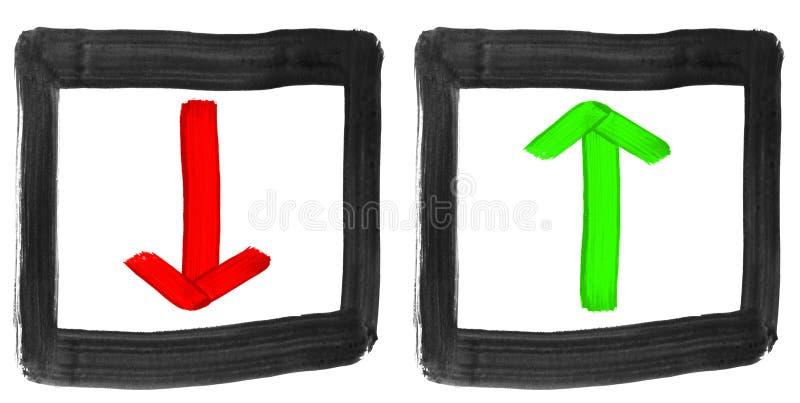 Pintado setas vermelhas e verdes para cima e para baixo foto de stock