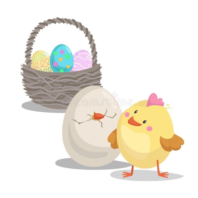 Pintainho bonito do menino dos desenhos animados que olha no ovo e na cesta chocados com ovos pintados Símbolos lisos do ícone do ilustração royalty free