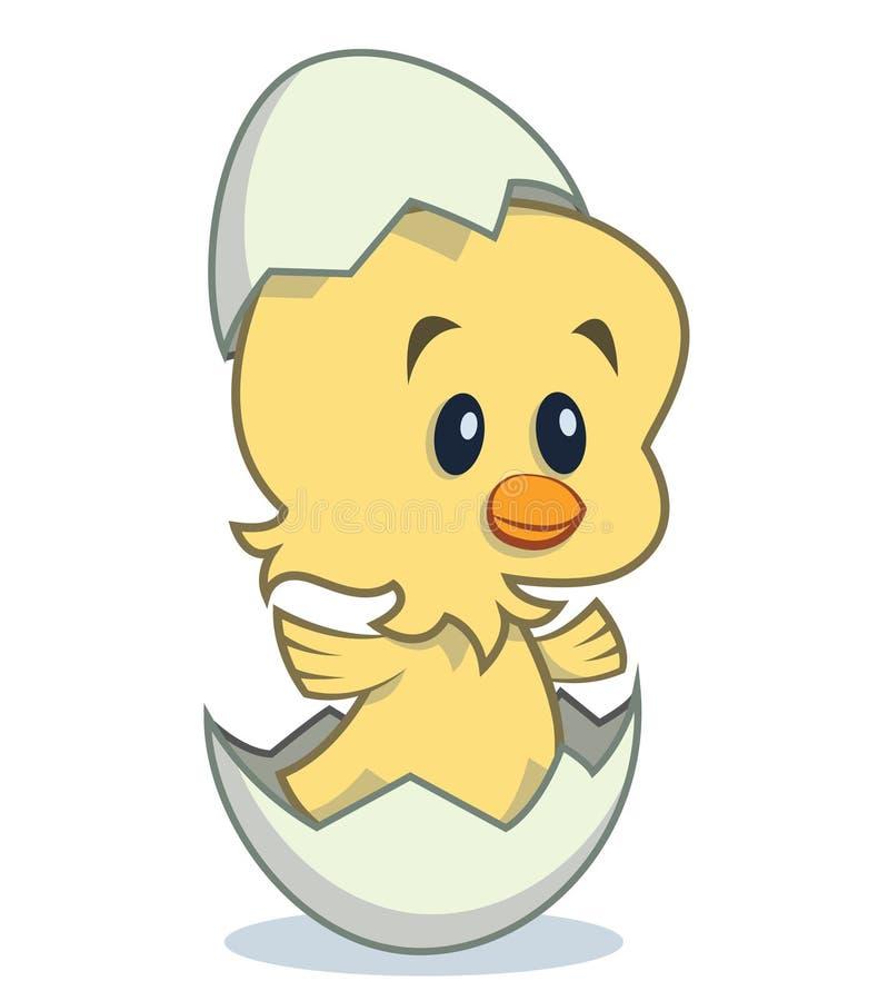Pintainho bonito dos desenhos animados que choca do ovo ilustração royalty free