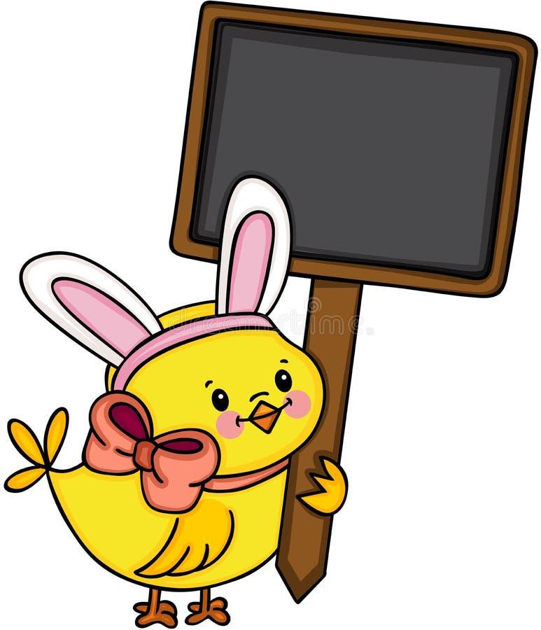 Pintainho com as orelhas do coelho que guardam o quadro indicador de madeira vazio ilustração stock