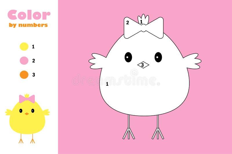 Pintainho no estilo dos desenhos animados, cor pelo número, jogo do papel da educação de easter para o desenvolvimento das crianç ilustração stock