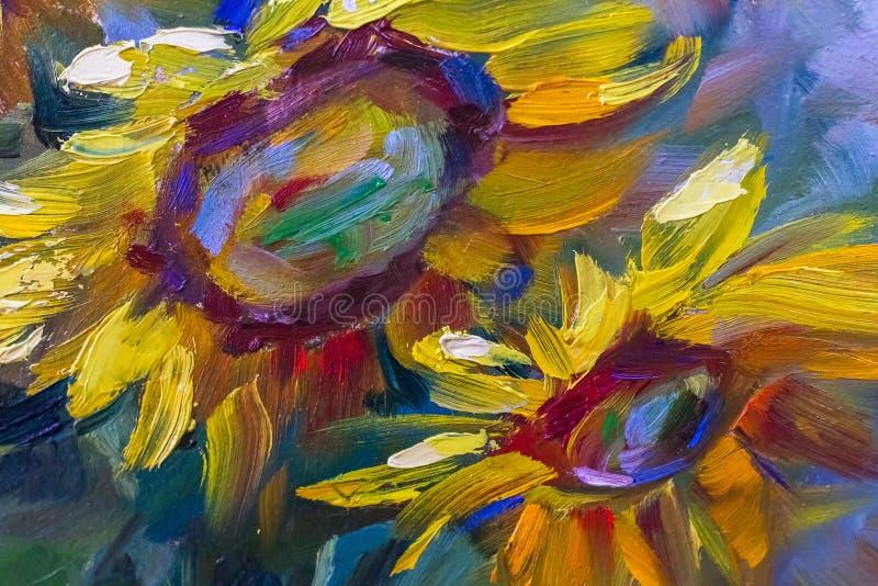 Pintando ainda a textura da pintura a óleo da vida, arte do impressionismo ilustração stock