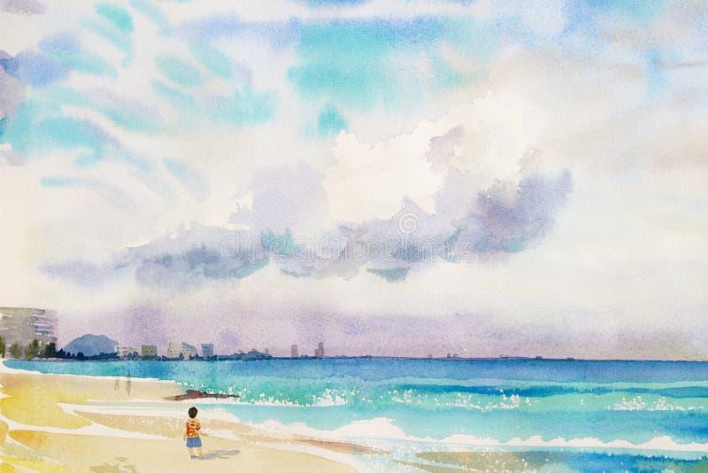Pintando colorido do menino anda na areia, opinião do mar, praia ilustração royalty free