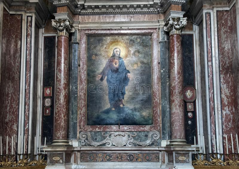 Pintando a descrição do coração sagrado na capela do sacramento abençoado de San Lorenzo em Lucina imagem de stock royalty free